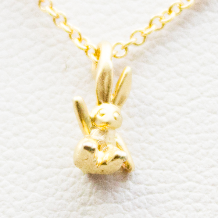 3D Mini Bunny Necklace - 18k Gold Tiny Bunny Rabbit Charm Necklace