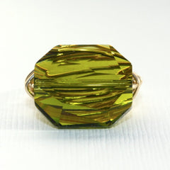 Gem Pop Ring - 18k Gold & Olive Green Swarovski Crystal Wire Wrapped Ring
