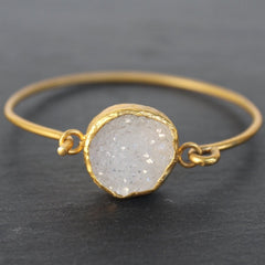 Old San Juan Bracelet - 24k Gold Dipped Iridescent White Druzy Crystal Cuff