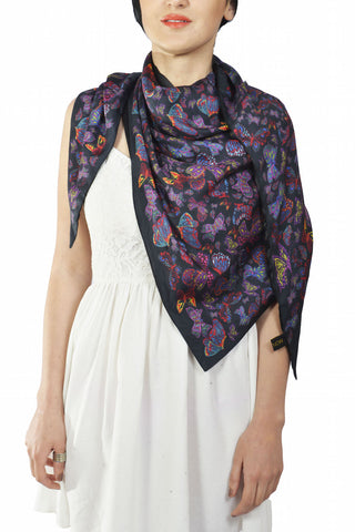 Butterfly Silk Triangle Double Layer Scarf