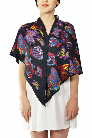 Big Butterfly Silk Triangle Double Layer Scarf
