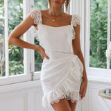 Zay White Lace Dress | Backless Dress Embroidery Hollow out Short Mini Dress