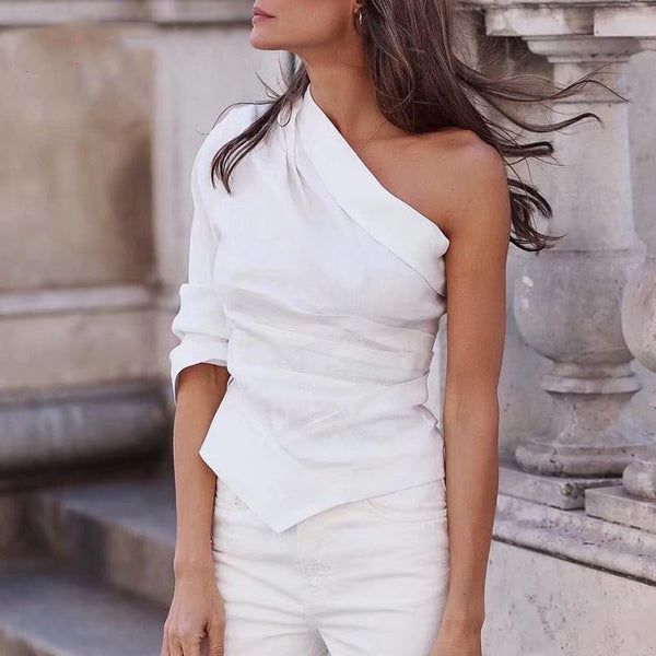 Taylor One Shoulder Top | Skew Neck  Blouse Casual White Blusa