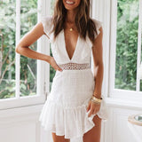Gerri Dress | White Embroidery Deep V Lace up Hollow Out Dress