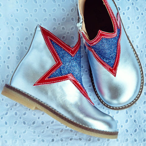 Ocra Girls Silver Boot with Star