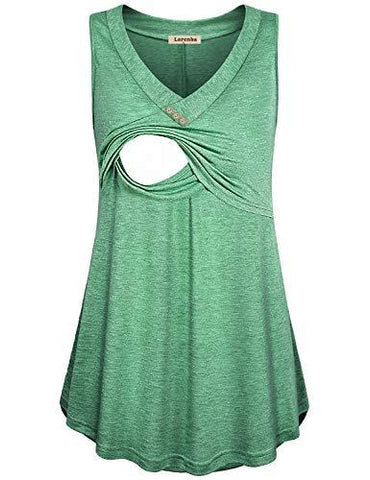 Image of Green Loose Fit Nursing Tank Top