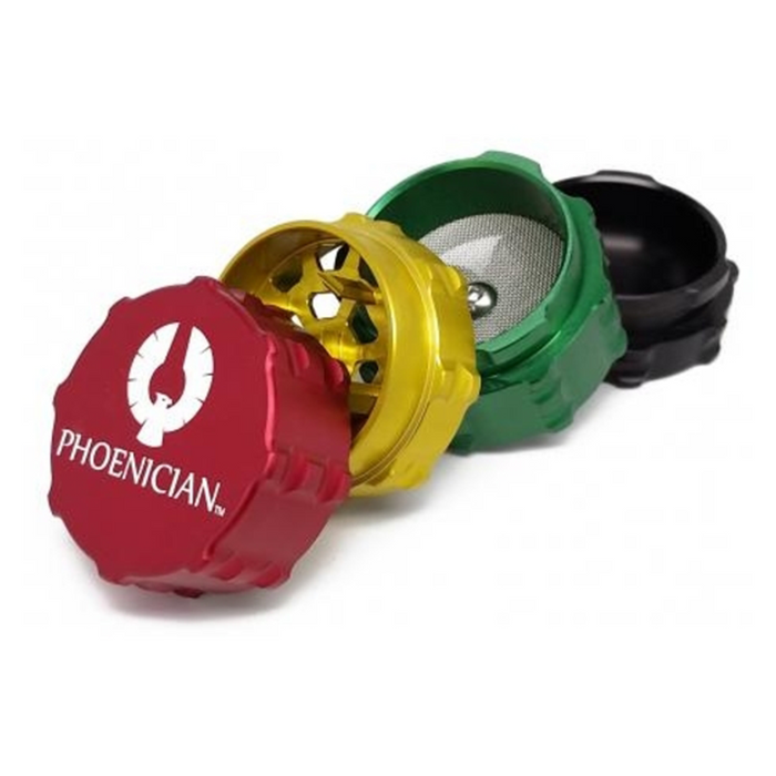 Phoenician 4-piece Grinder Kief Medium Rasta The Phoenician 4-piece grinders-specifically made for medical purposes-come sterilized in pouch.