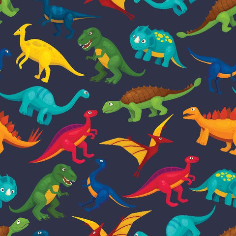 Printed French Terry - Dinosaurs on Navy