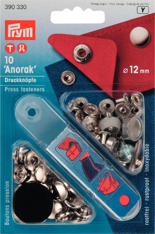 Prym Metal Press Fasteners with Tool - 12mm Silver 'Anorak'