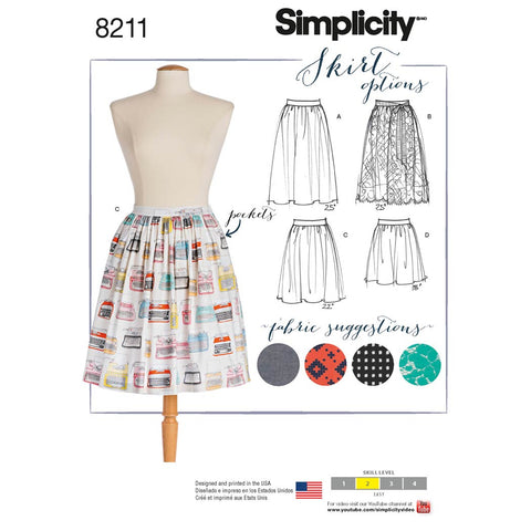 Simplicity Pattern 8211 - Women's Dirndl Skirts in Three Lengths