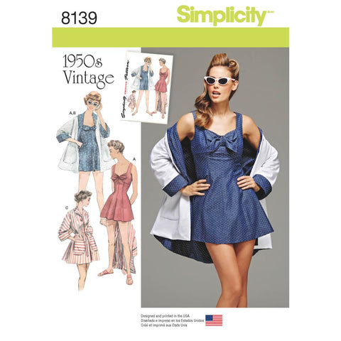 Simplicity Pattern 8139 - Women's Vintage Bathing Dress and Beach Coat