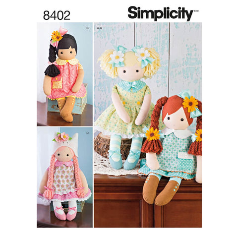"Simplicity Pattern 8402 - 23"" Stuffed Dolls With Clothes"