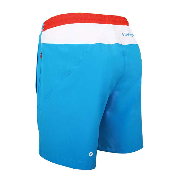 Birddogs Jockey Rockets Blue White Gym Shorts Bright Red Liner Back Left Angle