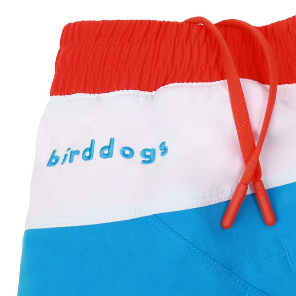 Birddogs Jockey Rockets Blue White Gym Shorts Bright Red Liner Waistband
