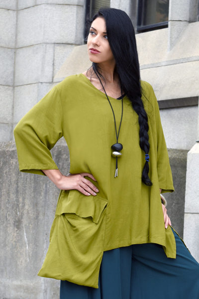 One Pocket Top in Green Chartreuse Boston