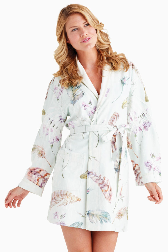 Wrap Up Soft Feathers Short Robe