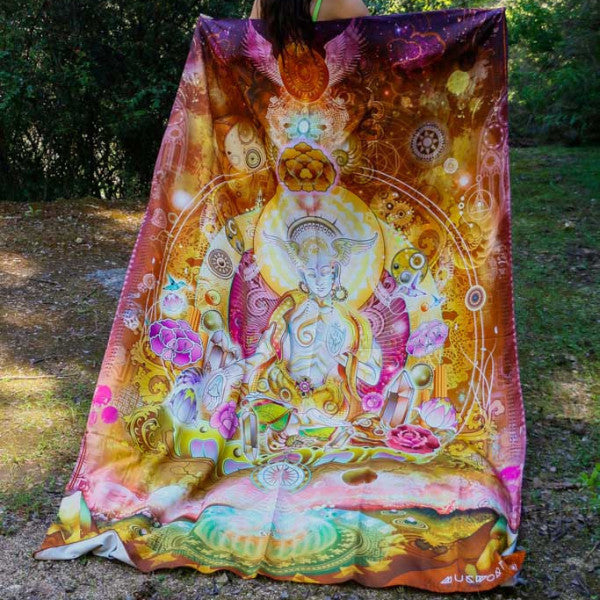 Visionary Artist Mugwort White Tara Hippy Tapestry by Third Eye Tapestries