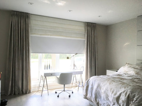Combination of Drapery+Blackout Roller Shade and Stationary Roman