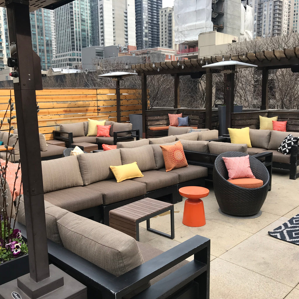Tailored + Elegant + Comfortable + Weather Resistant... Cushions at Zed Rooftop Restaurant in Downtown Chicago. Fabricated by Curtain Couture.