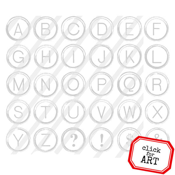 Typewriter Keys Alphabet Rubber Stamp Save 20%