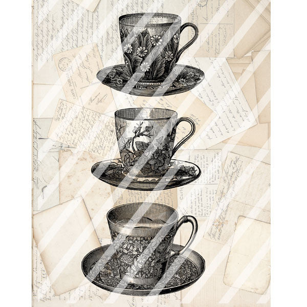 Antique Style Paper Print Tea Cups