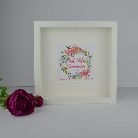 First holy communion personalised floral wreath frame | 1st communion gift for girl
