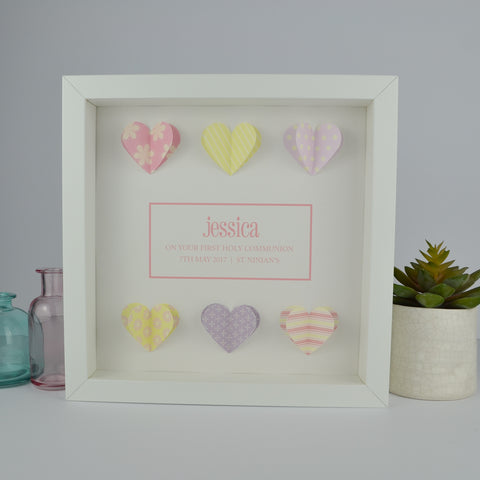 First holy communion personalised frame | 3D patterned hearts 1st communion gift for girl