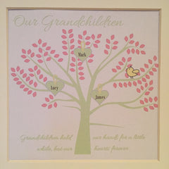 Granchildren family tree framed print in pale green and pink