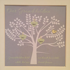 Granchildren family tree framed print in grey, pale yellow and green