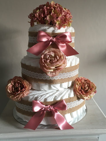 Gorgeous 3 Tier Nappy Cake Decorated with Burlap and Silk Flowers