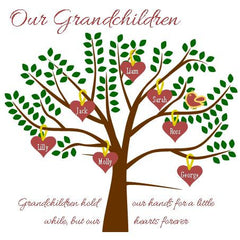 Grandchildren tree in green, brown and red