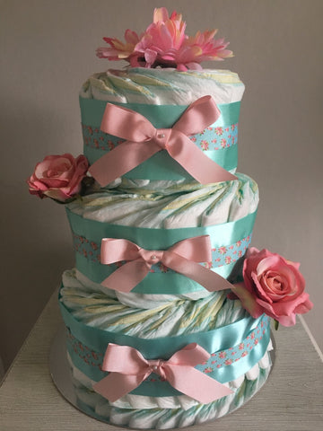 Gorgeous 3 tier Nappy Cake Decorated with Vintage Flower Ribbon