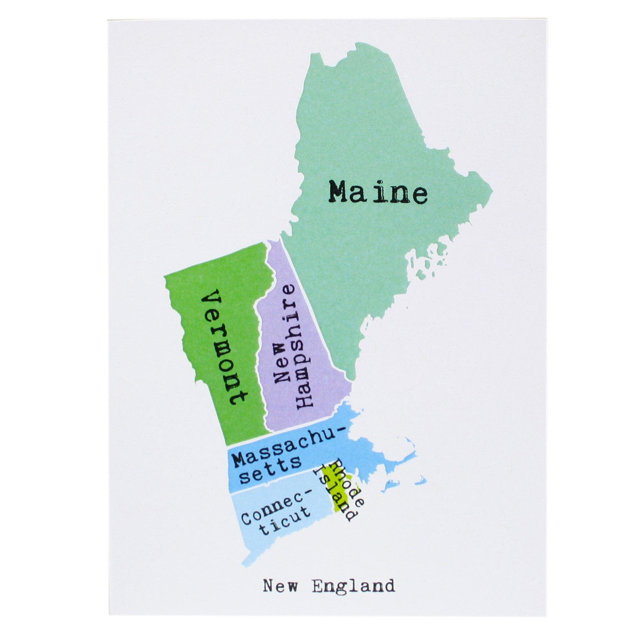 Map of the New England Note Card
