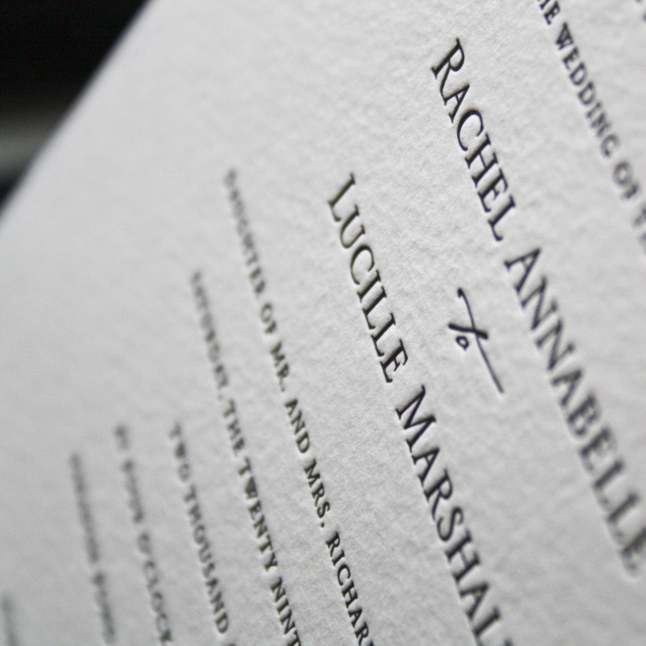Brunswick Letterpress Invitation Close Up