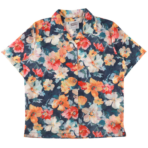 Women's - Camp Collar Shirt - Flower Painting - Orange | Naked & Famous Denim
