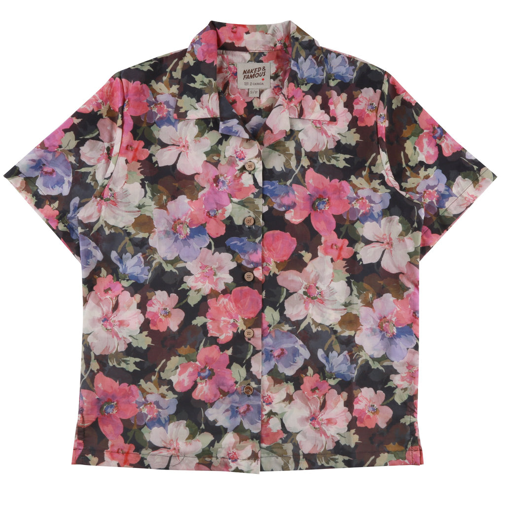 Women's - Camp Collar Shirt - Pink Flower Painting | Naked & Famous Denim