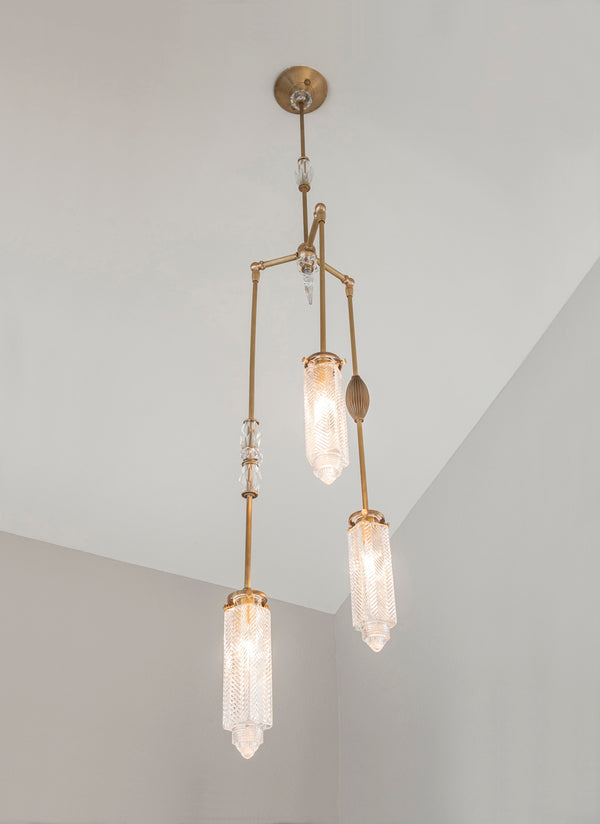 Chrysler Chandelier With Vintage Jewelry - Brass - 3 Arm | DSHOP