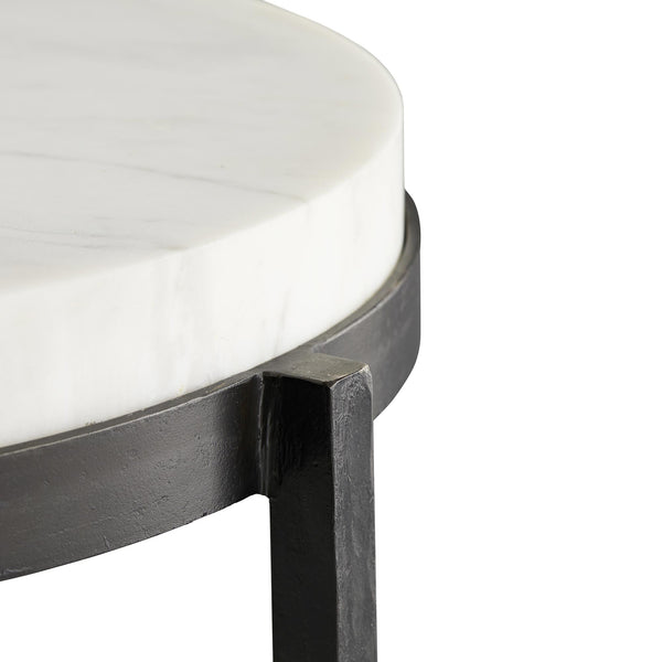 White Marble & Iron Side Table | DSHOP