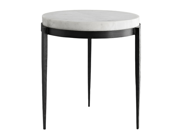 Kelsie Side Table in white marble and black iron | DSHOP