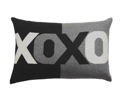 Cashmere XOXO Pillow - Black Gray Ice