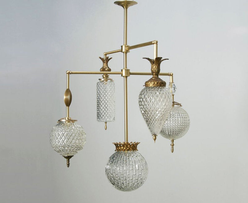 Brilliant Chandelier - 5 Arm With Vintage Jewelry - Brass | DSHOP