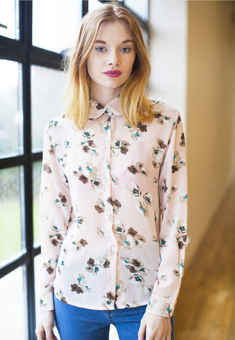 Chiffon Shirt In Floral Spring Print - Pink
