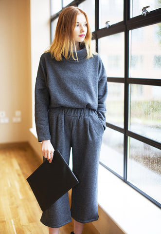 Jersey High Neck Sweatshirt With Culotte Trouser Co-Ord - Grey
