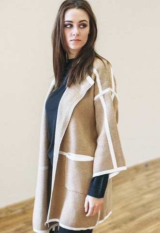 Cape Jacket Kimono With Contrast Trim (Camel)