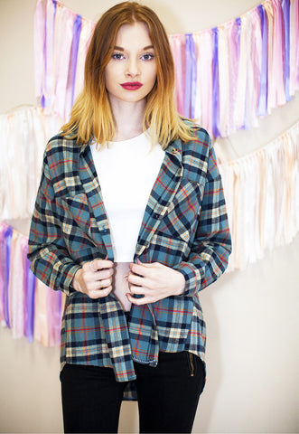 Oversized Checked Shirt - Blue