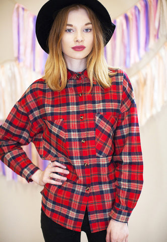 Oversized Checked Shirt - Red
