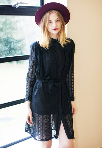 Shirt Dress In Lace - Black