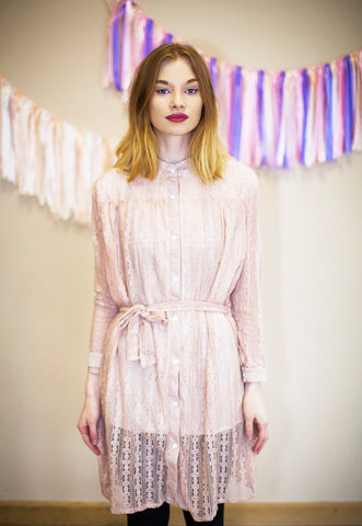 Shirt Dress In Lace - Pink