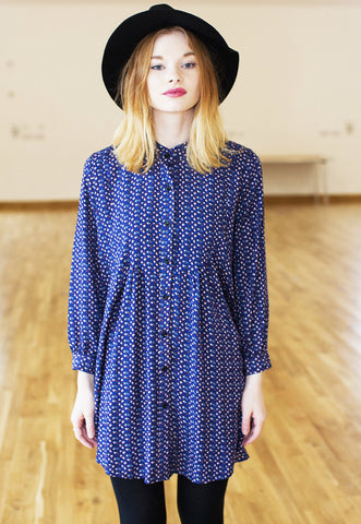 Shirt Dress In Retro Floral Print - Blue