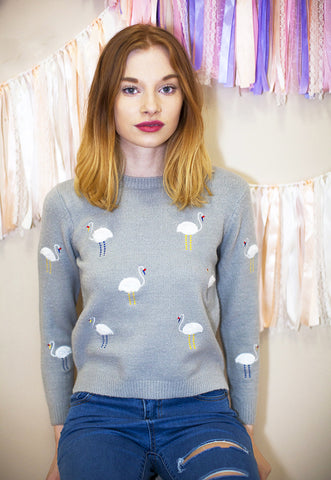 Soft Jumper With Embroidered Flamingos - Grey